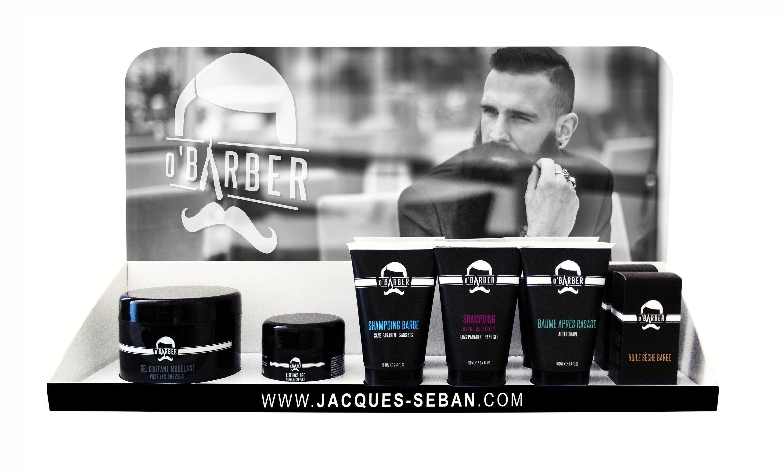 pr sentoir soins barbier et produits pour la barbe o 39 barber. Black Bedroom Furniture Sets. Home Design Ideas