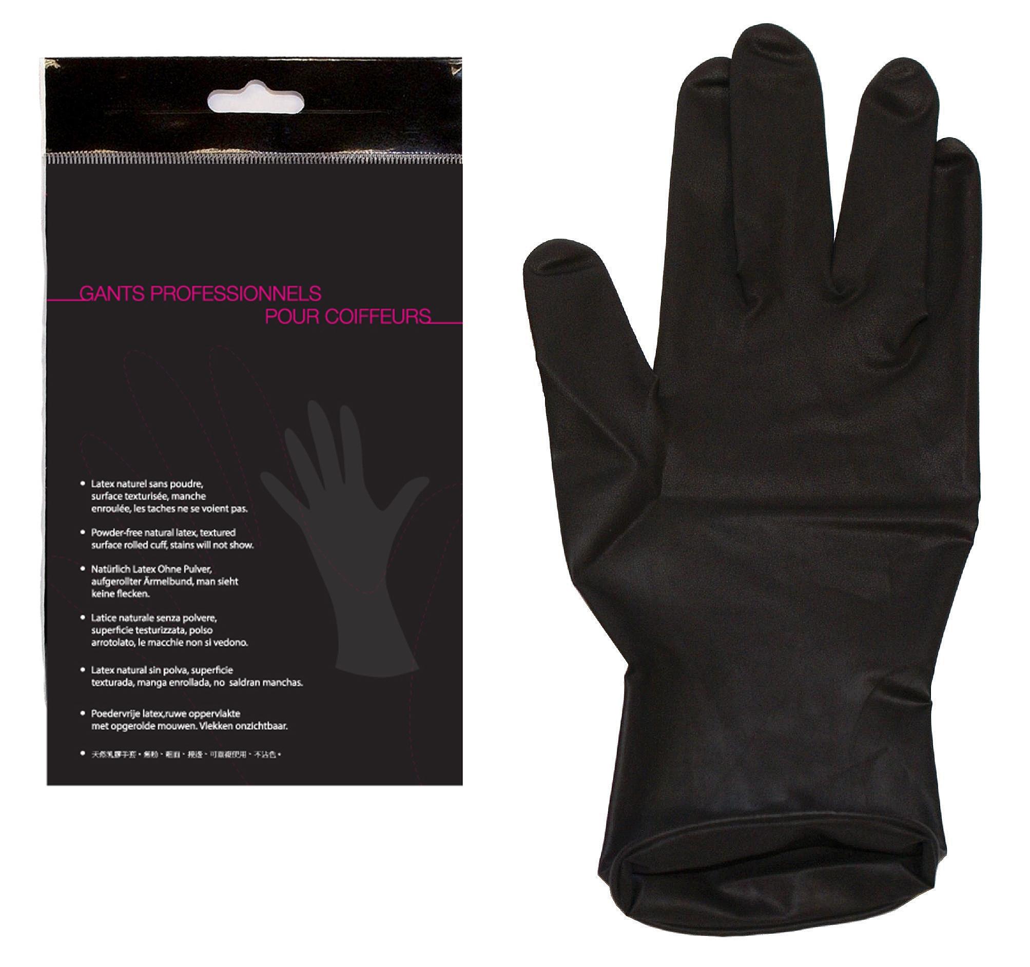 Gants de coloration latex noir par paire jacques seban medium - Gant latex noir ...